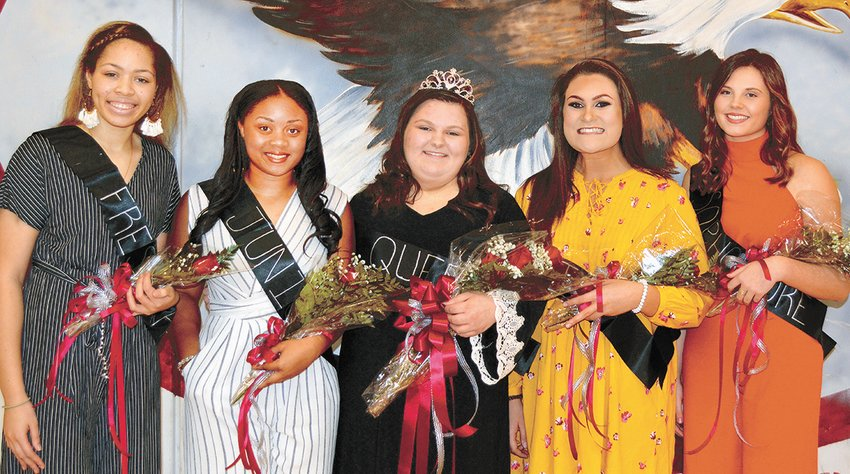 West Carroll Homecoming Court (L to R): Erin Norman, Ashley Myles, Haley Brooks, Hannah Lenard, and Brinley McAlexander.
