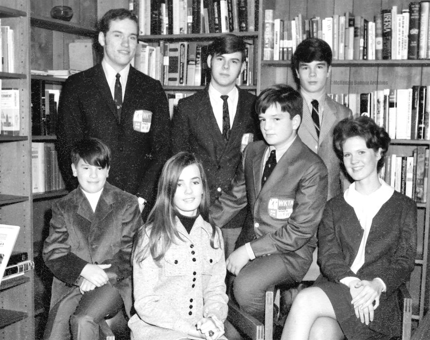 At WKTA in the late 1960s, Seated (L to R): David Freeland, Patricia Freeland, Doug Freeland, Carol Bennett. Standing (L to R): Paul Mitchell, Keith Bersey, and Steve Freeland.