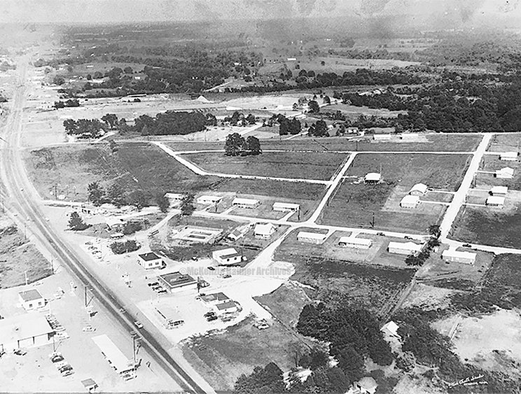 Aerial view of downtown McKenzie.