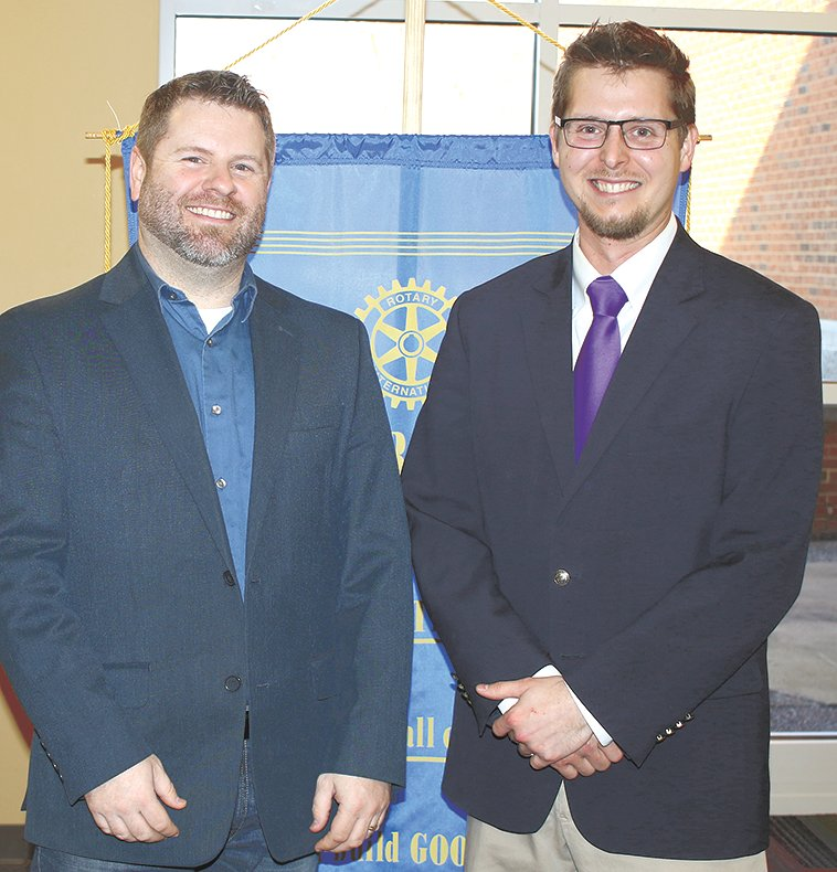 Rotarian Keith Herris and Garrett Burns, associate chaplain at Bethel.