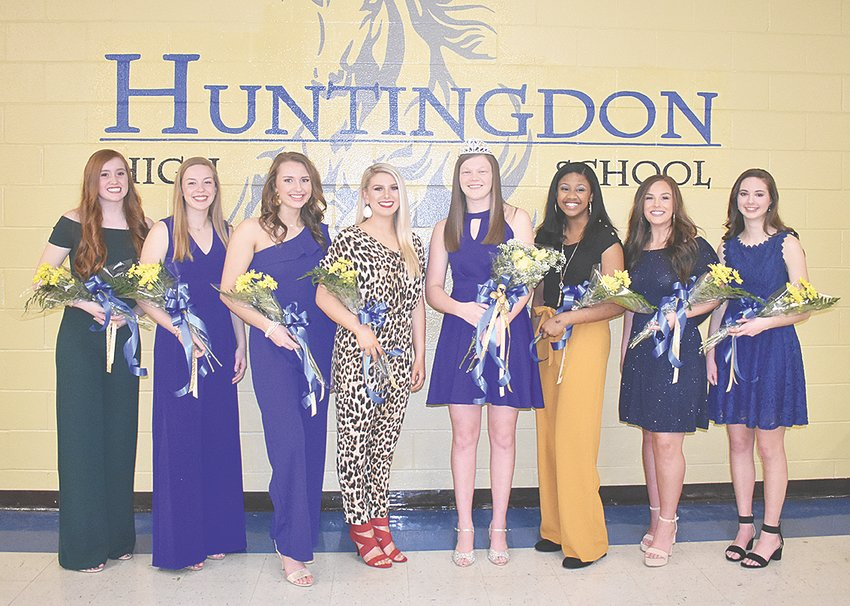 Huntingdon High School Homecoming Royalty (L to R): Lindsey Sanders, Brooke Butler, Adyn Swenson, Kaitlynn Batey, Queen Alli Jones, Tyasia Reed, Adyson Shands and Kaylan Belew.