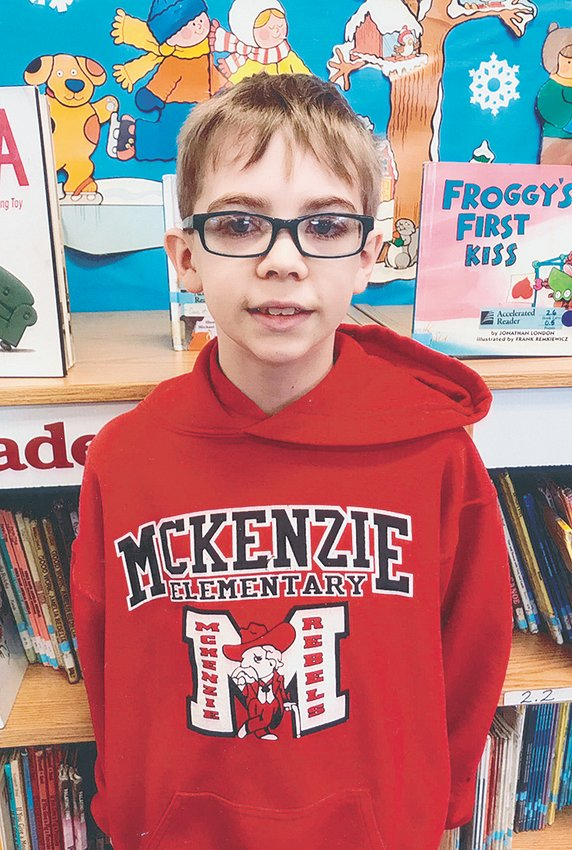 McKenzie Elementary School fourth grade student Branson Baker reached a milestone of 1,000 Accelerated Reader points this school year. This goal has only been reached by two other students in MES school history. Congratulations to Branson! Submitted photo