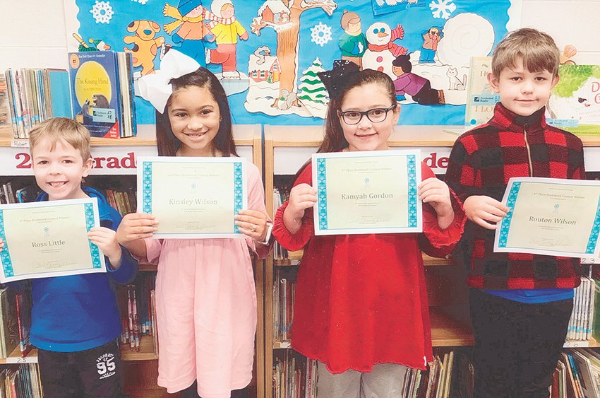 Pictured are second grade winners (L to R): First Place — Ross Little, Second Place — Kinsley Wilson, Third Place — Kamyah Gordon and Fourth Place — Routon Wilson. First-third place winners will be mailed in to compete in the state competition.