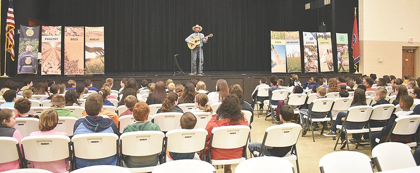 Cowboy Dan entertains fifth graders from McKenzie, Clarksburg and Hollow Rock-Bruceton at the Carroll County Civic Center.