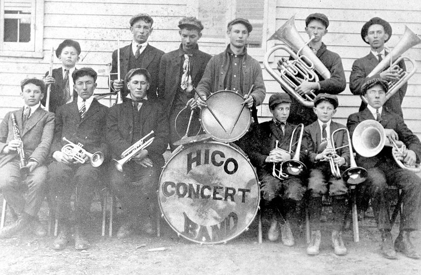 Hico Concert Band, 1917. Front Row, (L to R); Lois Miller, Hulon Thomas, Errol Kirk, Jimmy Kirk, Robert Thomas and Fred Thomas. Back Row, (L to R); Otto Ridley, Lester Thompson, Clyde Reynolds, Max Ridley, Austin Ridley and Connie Blow-Instructor.