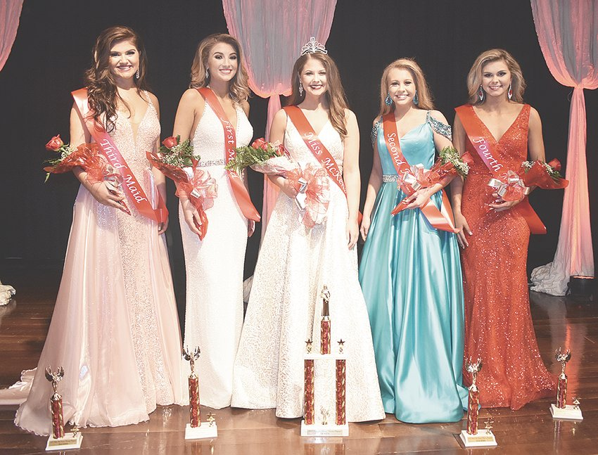 Amber Eason, 17, senior daughter of Stephen and Jennifer Eason, was crowned Miss McKenzie 2019. The royalty includes (L to R): Third Maid Claire Craddock, 18, senior daughter of Allison and Bryan Craddock; First Maid Emma Martin, 18, senior daughter of Jessica Martin; Queen Amber Eason; Second Maid Ashlyn Drewry, 15, sophomore daughter of Mandy and David Drewry; and Fourth Maid Shelby Tucker, 18, senior daughter of Brian and Amanda Tucker.