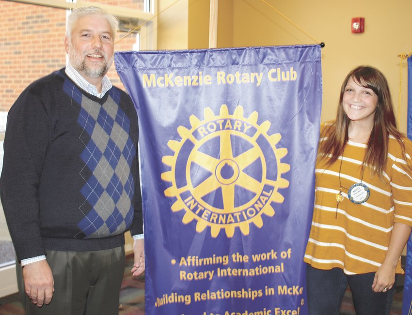 Brents Priestley was the featured speaker at McKenzie Rotary Club. He is pictured with President Krista Martin.