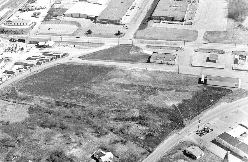 Aerial photo of Hwy. 79 showing Gaines and Brown Shoe Companies, 1960s.