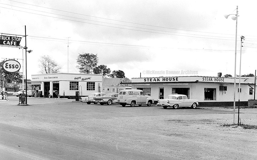 The Steak House, owned and operated by Billy Vawter, Highland Drive, late 1950s and BEASLEY'S ESSO SERVICENTER.