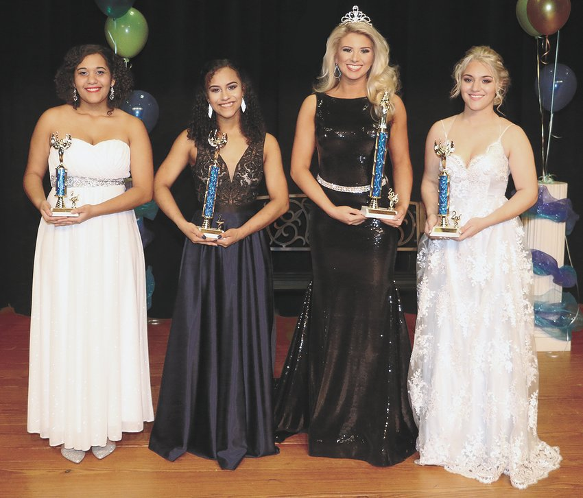Miss Huntingdon Ages 16-19 (L to R) Third Maid Reanna Simmons, daughter of James and Jennifer Simmons; First Maid Ezmerelda Rivera, daughter of Xiomara Rivera; Queen Kaitlynn Batey, daughter of Chad Batey and Jamie Magee; and Second Maid Lacey Dawn Prater, daughter of Ed Prater and Rachel Jenkins.