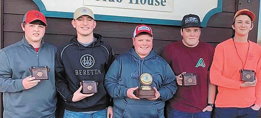 Varsity Shooting Team (L to R): Logan Green, Will McBride, Drew Beeler, Spencer Higdon and Richard Clay Wilson.