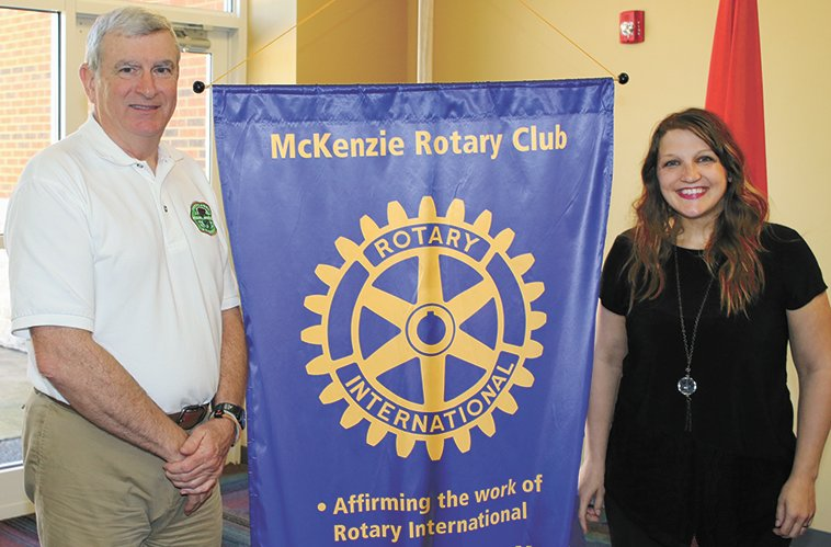 Tim Broadbent, Regional Manager for the TWRA Fisheries, and Rotary President Krista Martin.