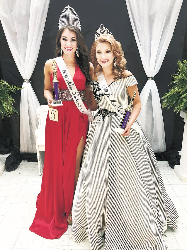 (Left) Miss Tater Town, Sydney Pate, is the 17-year-old of Jeremy and Gina Pate of McKenzie. The event was hosted by the Gleason Gazelles in Gleason, Tenn. (Right) Jr. Miss Tater Town, Darcie Bell, is the 15-year-old daughter of David and Hollie Bell of Gleason.