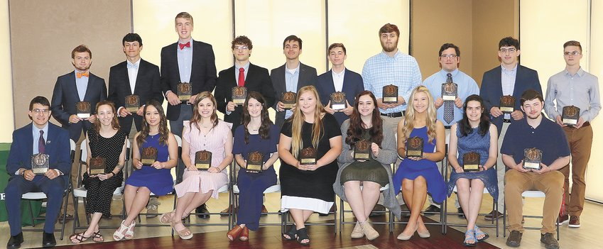 Front Row (L to R): John Putman, Lilly Daffron, Haven Hargrove, Macey Ognibene, Mallory Cole, Olivia Frazee, Emily Coleman, Ana-Kate Welsh, Allie Harvey, and Ashton Warren. Back Row (L to R): Clayton Pinson, Chase Colotta, Ben Austin, Zach Laser, Jacob Mims, Jacob Wilkes, Jared Hodo, Brayden Campbell, Daniel Arnhold, and Adam Barnhart.
