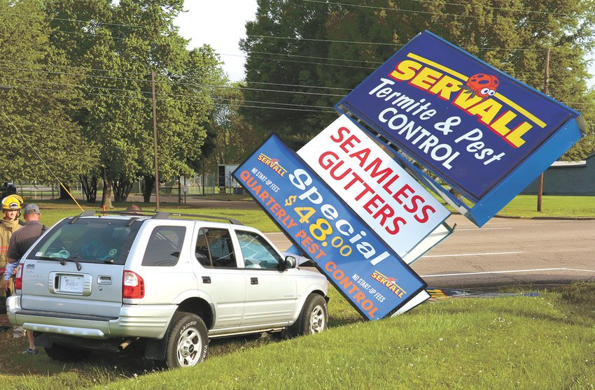 The Servall sign was tumbled as a motorist left U.S. 79 and struck the sign at the intersection of Grandberry and Highland (U.S. 79) in McKenzie. McKenzie Police and Fire, and Baptist Ambulance Service responded to the scene at around 7:30 a.m. Monday.