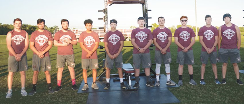 (L to R) 225 – 245 lbs; Hayden Hillard, C.J. Ray, Jaquez Weatherford, Bryce Bolton, Jacob Blankenship, Kaleb Brittain, Grant Green, Dakota Summers, Garrett Baker, and Wyatt Baker.