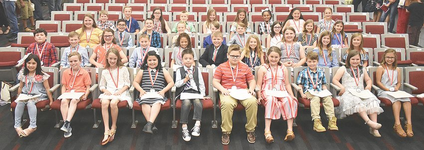 Third grade MES honor students (L to R): Front Row — Kaydynce Barksdale, Wyatt Brewer, Molly Drewry, Yaretzi Gonzalez, Triztan Vela, Harrison Allen, Braylin Auvenshine, Alexander Hughes, Addyson Lee and Ava Newman; Second Row — Ashton Nutting, Cayden Ownby, Sophie Taylor, Aden Cook, Destiny Crawford, Cooper Davidson, Maggie Hall, Anna Mileski, Jaycee Stafford and Kynadie Brown; Third Row — Sophie Cole, Jesus Flores, Eian Gibson, Kaydence Papich, Landon Rader, Bryant Ward, Delta Baker, Addison Davis and Elizabeth Swisher; Back Row — Marshal Vinson, Ethan Bradberry, Annie Ferguson, Max Harwell, Caitlyn Hatler, Addison Milam, Bella Sass, Stephanie Padilla and Natalia Taylor. Not pictured is James Woodruff.
