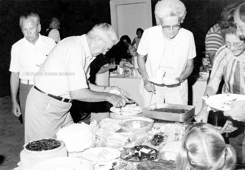 Community Picnic at Campbell Well Drilling, hosted by Max Campbell and family, 1980. (L to R): J.T. Jones, Marvin Clark, Polly Lemonds, Betty Hubble, and Jerry Vinson.