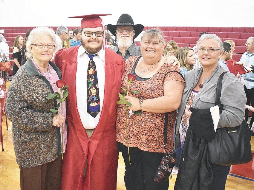 Clarksburg graduate Bryck Bridegan celebrates with family following commencement. Pictured are (L to R): grandmother Laura Bridegan, Bryck, father Michael Johnson, mother Jacki Bridegan-Johnson and aunt Jennie Collingsworth.
