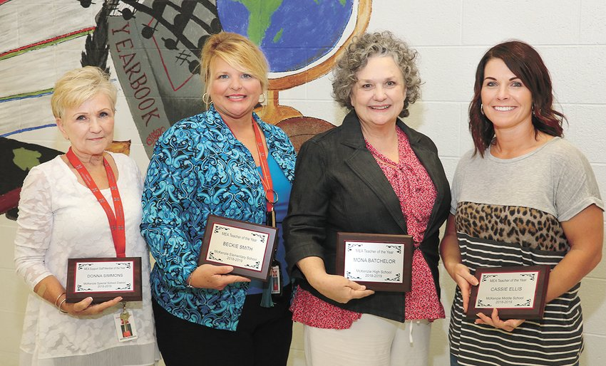 Donna Simmons, an educational assistant, and certified teachers Beckie Smith, Raymona Batchelor, and Cassie Ellis were honored on the last day of the 2018-2019 as teachers of the year or educational assistant of the year.