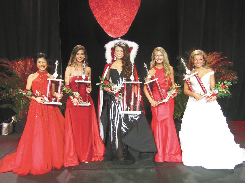 HUMBOLDT — MISS TEEN TERRITORIAL (2019) — Dani Dyer of McKenzie is the Miss Teen Territorial queen for the 83rd annual West Tennessee Strawberry Festival. She is the daughter of Ryan and Susan Dyer. Members of the court are (from left) 3rd Maid Jolee Morgan, daughter of Michael and Rene Morgan; 1st Maid Brighton Englet, daughter of Todd and Daisy Englet, Queen Dani Dyer; 2nd Maid Autumn Isbell, daughter of Cindy Sawyers and Tracy Isbell; and 4th Maid Kaylee Tims, daughter of Amy Timms and Bobby Tims.