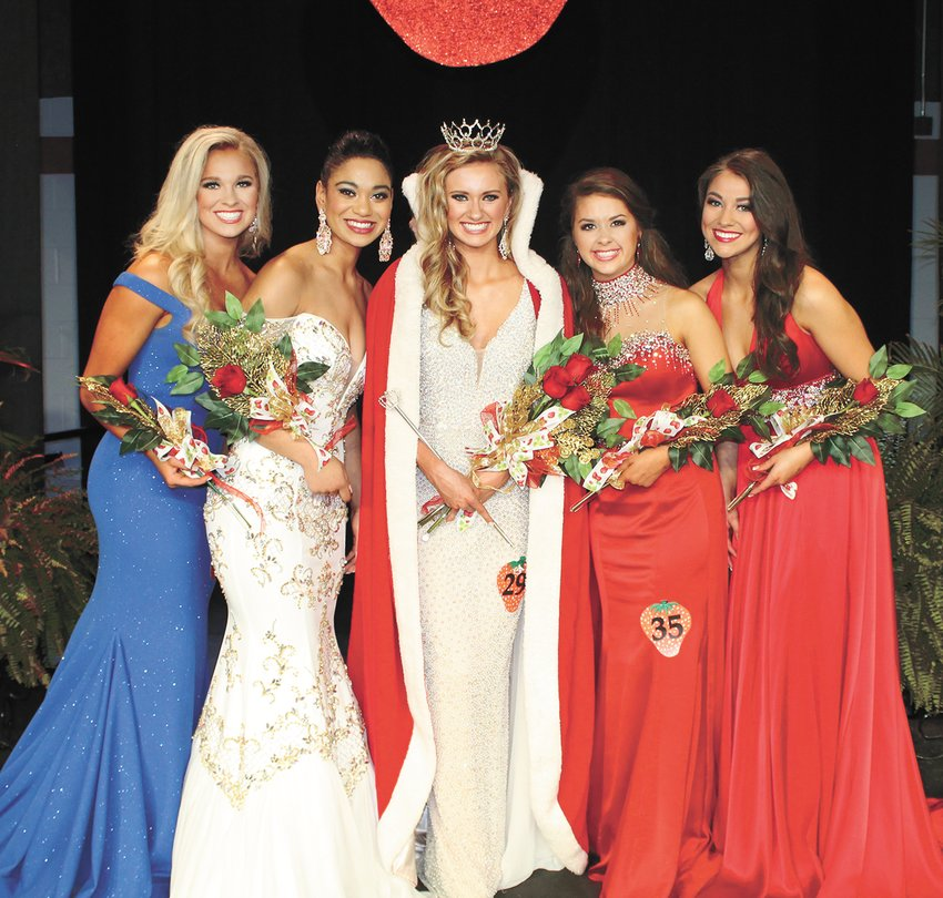 HUMBOLDT — TERRITORIAL COURT (2019) — Alexia Allen (center) was crowned Territorial Queen Saturday night and will reign over the 83rd annual West Tennessee Strawberry Festival next year. Queen Allen, from McKenzie, is the daughter of Brad and Melissa Allen. Here court consists of (from left) 3rd Maid Abby-Grace Berry of Trenton, the daughter of Bridget Cary; 1st Maid Bre Williams of Union City, the daughter of Tracy Boucher and Brian Williams, (Queen Alexia), 2nd Maid Molly Parlow of Alamo, the daughter of Bonnie and Cindy Parlow; and 4th Maid Sydney Pate of McKenzie, daughter of Jeremy and Gina Pate.