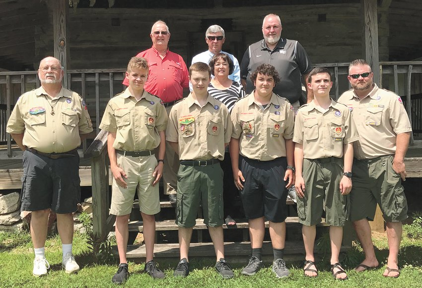 Pictured (L to R) Front Row: Jimmy Fields, Troop 78 Scoutmaster; Austin Gant; Jack Lawrence; Carter Cary; Duane Patrick; Benji Lawrence; Back Row: Phil Williams, Mayor of McLemoresville; Roger and Angie Martin and Don Reed from the city board.