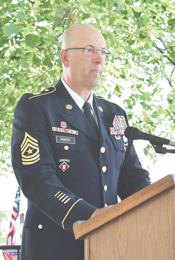 Sgt. Major Spiros Roditis, U.S. Army, delivered a prayer and a Memorial Day poem during the McKenzie ceremony.