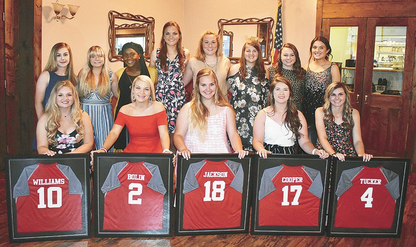 Lady Rebel softball award winners (L to R): Camille Travis, Best Offense; Sarah Jackson, Lady Rebel Award; Amberleigh Cooper, Best Defense; and Shelby Tucker, Most Valuable Player.