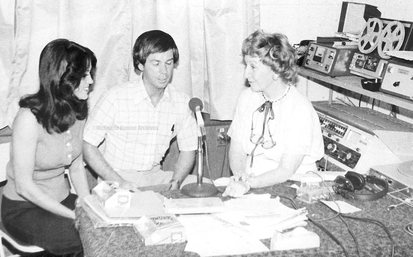 Tibby Edwards Liles, longtime W.H.D.M. radio talk show personality interviews Gloria Berryman and Jim Shannon, 1979.