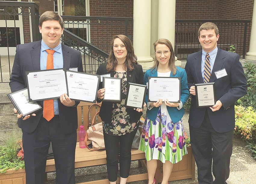 Pictured after the Tennessee Associated Press Career Day and College Awards are (L to R): UT Martin students John Thornton of Atoka, Jillianne Moncrief of McLemoresville, Kayla Brooks of Dickson and Brian Affolter of Spring Hill.
