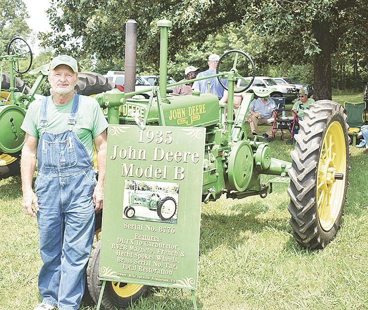 """Mike """"Spoon"""" Spratlin of Henderson brought the oldest tractor to the show, a 1935 John Deere Model B."""