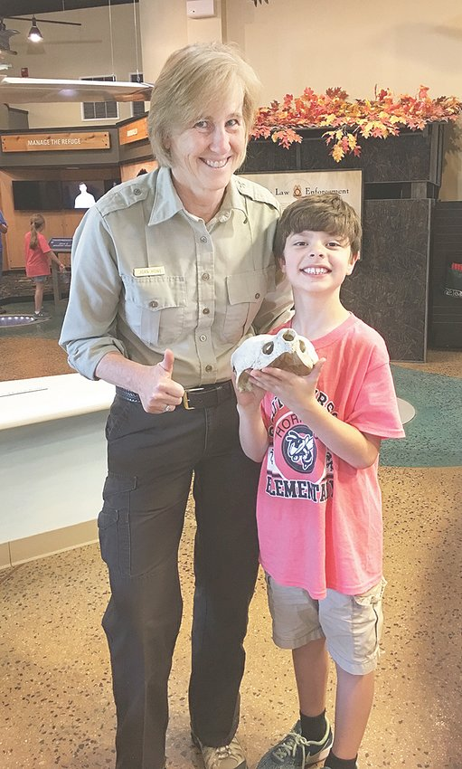 On a third grade class field trip to the Tennessee National Wildlife Refuge at Springville, Sawyer Hamilton presented the Wildlife Ranger with the skull of an alligator snapping turtle. This turtle is considered rare to very rare and imperiled by Tennessee Department of Environment and Conservation. The skull was discovered by Sawyer's grandfather while duck hunting on Kentucky Lake. Sawyer is nine years old and a student at Medina Elementary School. He is the grandson of Joyce and Johnny Hamilton of McKenzie.