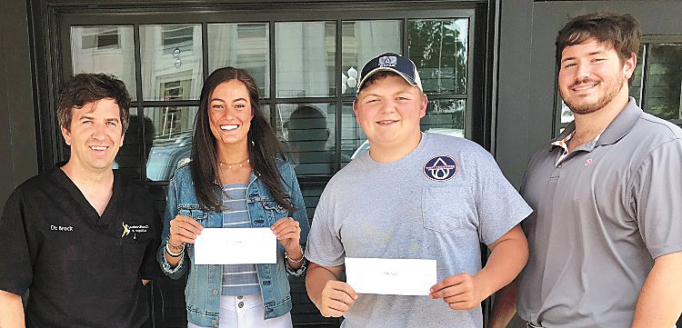 Huntingdon Lions Club 2019 Scholarship Award winners are Caitlin Kreuziger and Kody Byrd. Both students will be attending the University of Tennessee at Martin in the fall. Pictured are (L to R): King Lion Brock Martin, Kreuziger, Byrd and Lions Club Treasurer Collin Pruett.