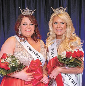 Amanda Mayo (left), of Lilburn, Georgia, and Tera Townsend, of Nashville (Huntingdon), claimed the Miss UT Martin and Miss Tennessee Soybean Festival titles, respectively, during the combined pageant Nov. 11 at the University of Tennessee at Martin. Mayo is a junior at UT Martin studying biology and geology. Townsend is an audio engineering student at SAE Institute Nashville. Both will compete next week in the Miss Tennessee Volunteer Scholarship Pageant.