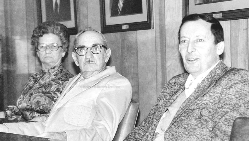 Cathryn Crawford, City Clerk; Ed Wallace, Councilman; and Ed Brashear, Councilman, 1980.