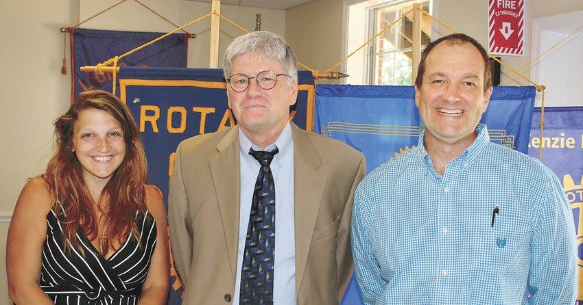 Rotary President Dr. Krista Martin, Mike Creasy, and Rotarian Joe Neumair, the program sponsor.