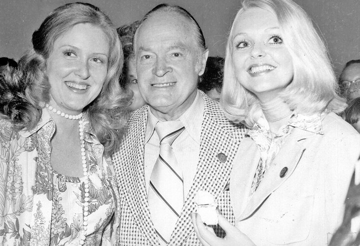 Bob Hope (center) is flanked by (L to R) Miss Tennessee 1974, Deborah Kincaid and Patrician Price at the reception held in Hope's honor at the Bethel Student Center.