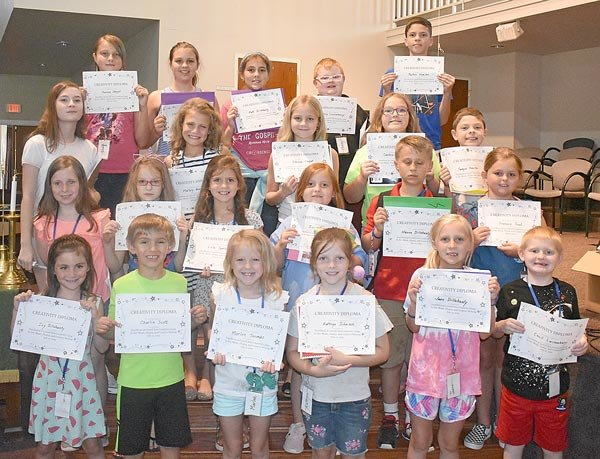 Participants in the Carroll Arts Creativity Camp (L to R): Front Row — Ivy Dillahunty, Charlie Scott, Marlee Toombs, Kathryn Johnson, June Dillahunty and Cecil Lessenberry; Second Row — Carly Miller, Lexi Bos, Lola Sumrok, Zoey Sam, Haven Dillahunty and Frannie Trout; Third Row — Baylie Bohanek, Mallory Warman, Athena Chaput, Candice Bowlin and Sawyer Hamilton; Back Row — Aurora Chaput, Johannah Dillahunty, KaKi Dillahunty, Ozzy Lessenberry and Parker Hamilton. Not pictured are Carleigh Lunn, Olivia Fontana, Will Beasley, Sophie Beasley and Delta Baker.
