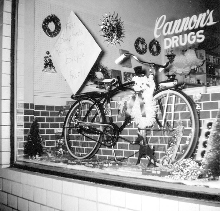 Window display from Cannon's Drug Store.