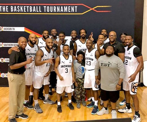 The Jackson TN Underdawgs have reached the Elite 8 in The Basketball Tournament. Pictured far left is Head Coach Dexter Williams.