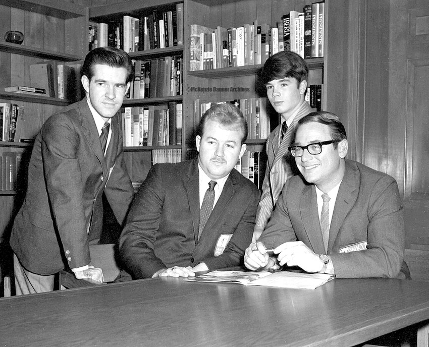 WKTA Staff members in the late 1960s included (L to R): Ron Lane, Charley Baylor, Steve Freeland and Kent Jones.