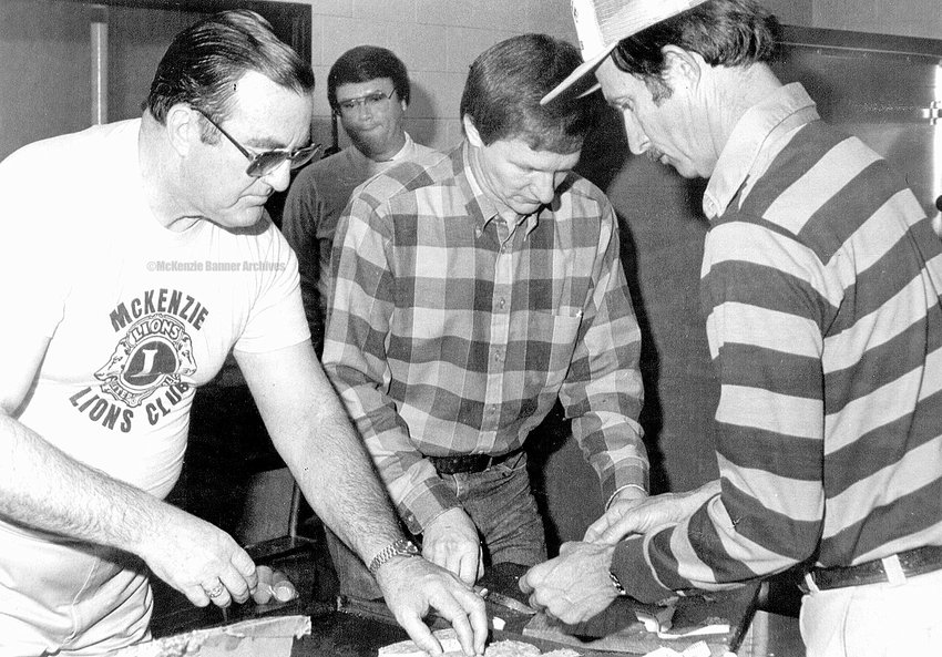 Lion's Club Breakfast, 1987. (L to R): Raymond McDade, Tom Smith, Jammie Foster, and Van Ramsey.
