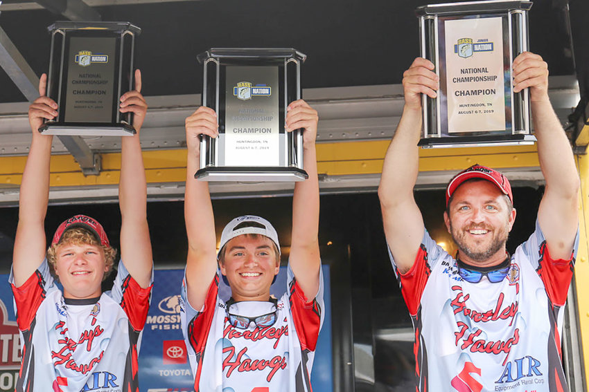 Mike Abbott and Braden McNamara of Hartley's Hawgs bass club out of Ohio win the 2019 Bassmaster Junior Championship at Carroll County 1,000 Acre Recreational Lake out of Huntingdon, Tenn., with a two-day total of 20 pounds, 3 ounces.