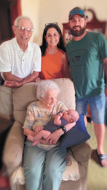 Anita Hale (102 years old) of McKenzie celebrating five generations with son Gene Hale, granddaughter, Gina Gore of Bartlett, great-grandson, Matt Gore of Bartlett and great-great grandson, Brooks Gore, born May 8, 2019.