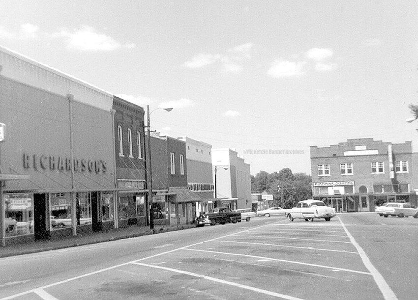 Looking down Broadway toward Cedar, Downtown McKenzie, 1967.