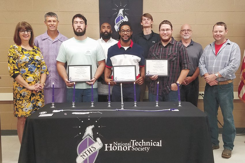 (L to R): Front Row: Maureen Sledd, Administrative Office Technology instructor and National Technical Honor Society Advisor, Welding student, Houston Brunmeier, Welding student, Tavis Bryson, Welding student, Jared Ackroyd, and Weakley County Welding Instructor, Jeremy Tucker. Back Row: McKenzie Campus Welding Instructor David Earley, Welding student Elcana Williams, Weakley County Welding student, Tanner Owensby, President Dr. Brad White, and Weakley County Welding Instructor, Jeremy Tucker.
