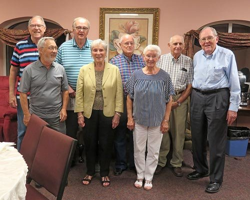 McKENZIE (August 16) — The McKenzie High School Class of 1957 met Friday at the Cumberland Presbyterian Church for a catered dinner. Stories of school days were retold with improvements. They also met the next morning at Bobby Gee's for breakfast and to plan next year's reunion. Pictured are (L to R): Front Row — Vernon Lemons, Jenny Garner and Thelma Delaney; Back Row — Barry Baker, Bill Webb, Doyle Chandler, Dwayne Delaney and Tom Campbell.