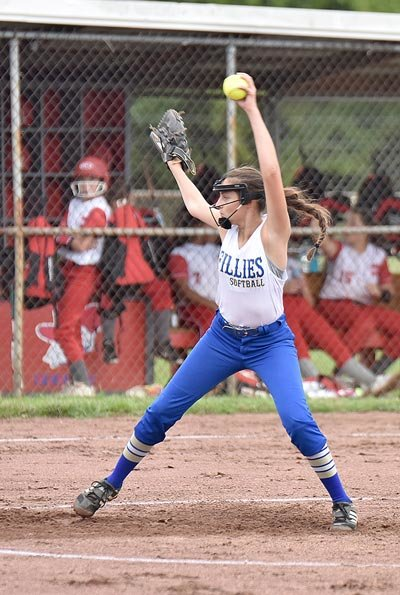 Natalie Kreuziger earned the complete-game win for the Fillies, allowing two runs (one earned) on three hits while striking out ten and walking six.