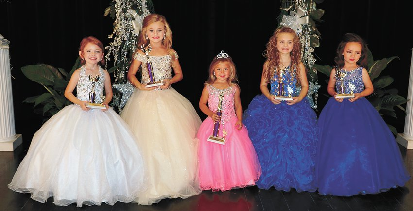 Carroll County Fair 2019 (Ages 4-6 Girls) Third Maid Lily McMackin, 4, daughter of Josh and Sara McMackin of Huntingdon; First Maid Collyns Wood, 6, daughter of Chad and Cassie Wood of Huntingdon; Queen Merritt Ghyers, 4, daughter of Mark and Michelle Ghyers of McKenzie; Second Maid Claire Woodell, 5, daughter of Chip and Tasha Woodell of Huntingdon; and Fourth Maid Marlee Mason, 4, daughter of Heather Bush and Jake Mason of Huntingdon.